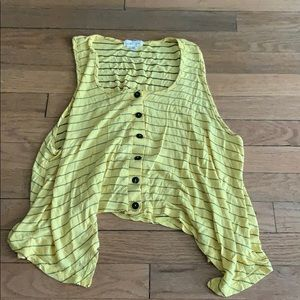 Yellow flowy button tank top with stripes